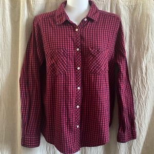 aerie Red & Blue Plaid Flannel Button-Up Shirt